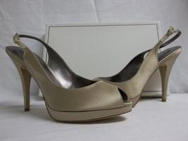 BCBG Max Azria Sz 9.5 M Libby Champagne Satin Slingbacks Heels New Womens Shoes - $117.81