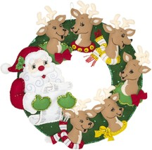 "Bucilla Felt Wreath Applique Kit 17""X17""-Santa & Reindeer - $30.89"