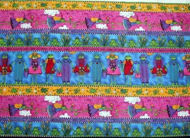 """Whimsical Gardening Fairy Frogs Script Colorful Cotton Fabric 72"""" Wide OOP HTF - $23.99"""