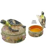 Sea Turtle Baby in Sandbox Jeweled Trinket Box with Austrian Crystals - $37.95