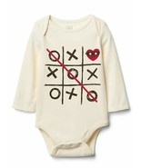 NWT! Boys Baby Gap Tic-Tac-Toe Love Graphic Long Sleeve Bodysuit 3-6 Months - $14.54