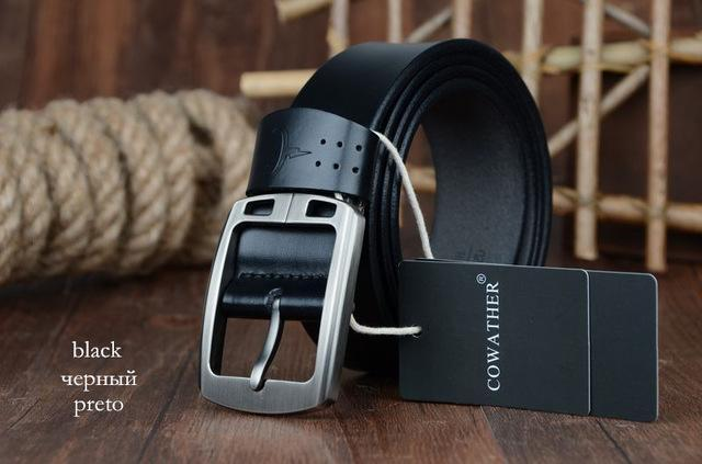 COWATHER cowhide genuine leather belts for men brand Strap male pin buckle vinta image 9