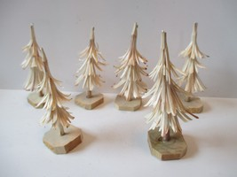 """Lot 6 Hand Carved Wood 4"""" to 5"""" Village Christmas Tress Decorations - $10.88"""