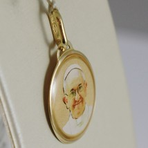 Medal Charm in Yellow 750 18k, Pope Francis, Glazed, Made in Italy image 2