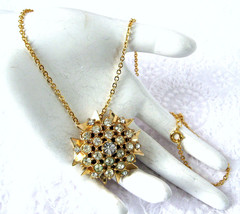 Necklace Rhinestone Starburst Convertible Pin Pendant Cluster 1950s With... - $58.00