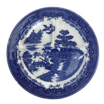 Vintage Ideal Grille Plate Blue Willow Transferware Divided Restaurant Ware USA - $22.98