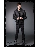 Mens Black Goth Punk Fall Spring Biker Jacket Leather-look Motorcycle St... - $101.69