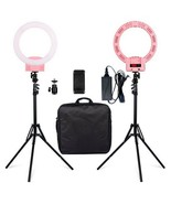 "12"" LED Ring Lights and 2m Light Stands US Standard Pink - $138.59"