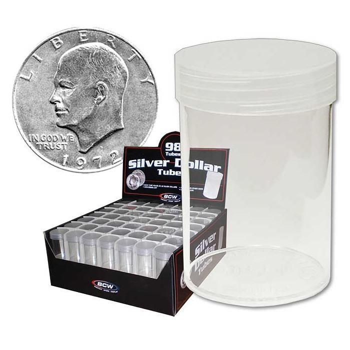 196 BCW Round Clear Plastic Large Silver Dollar 59.4mm Coin Tubes w/Screw-On Cap