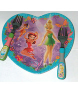Disney Zak Tinkerbell, Cinderella, Ariel Childs Kids Heart Plate & 2 For... - $14.83