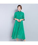 pf204 5exy 2 in 1 long blouse, linen & cotton ,Size s-3xl, green - $18.80+