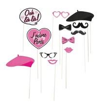 12 pcs Paper Pink Paris Photo Booth Stick Props  - $10.99