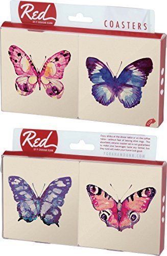 Watercolor Butterfly Pink and Purple 4 Piece Absorbent Ceramic Coaster Set