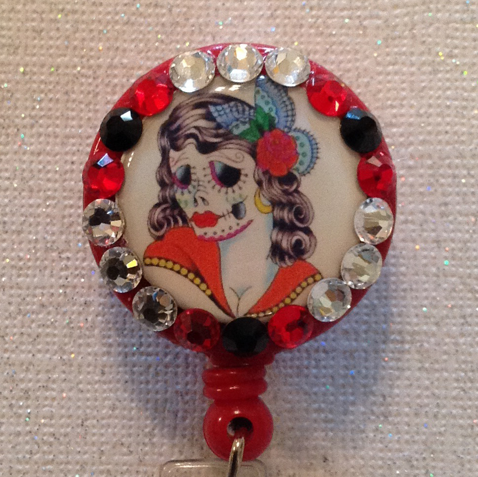 Primary image for Day of the Dead Badge Reel Id Holder Swarovski Crystals New Alligator Clip Red