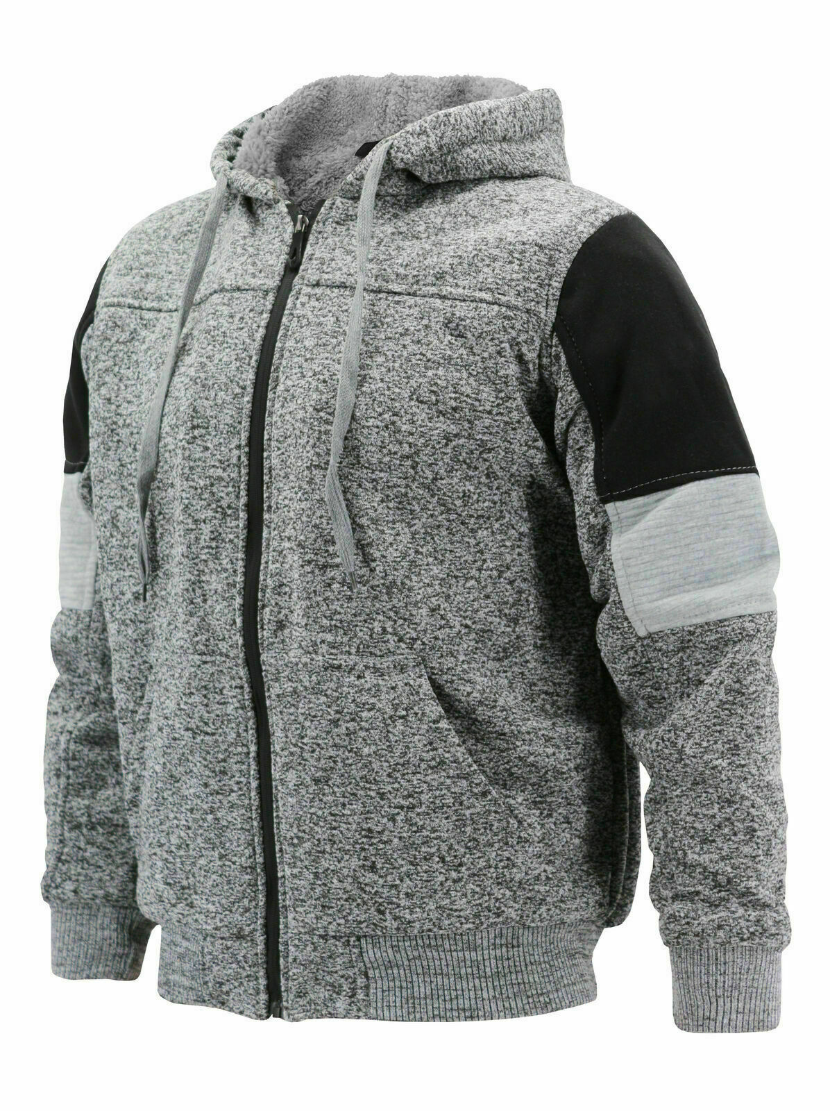 Men's Two Tone Sherpa Lined Moto Quilted Fleece Hoodie Jacket w/ Defect 2XL