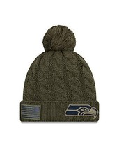Era Women 2018 Salute to Service Sideline Cuffed Knit Hat ? Olive Seattl... - $45.55
