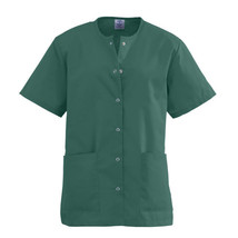 Hunter Green Scrub Top XL Medline AngelStat Women's Round Neck Snap Fron... - $19.37
