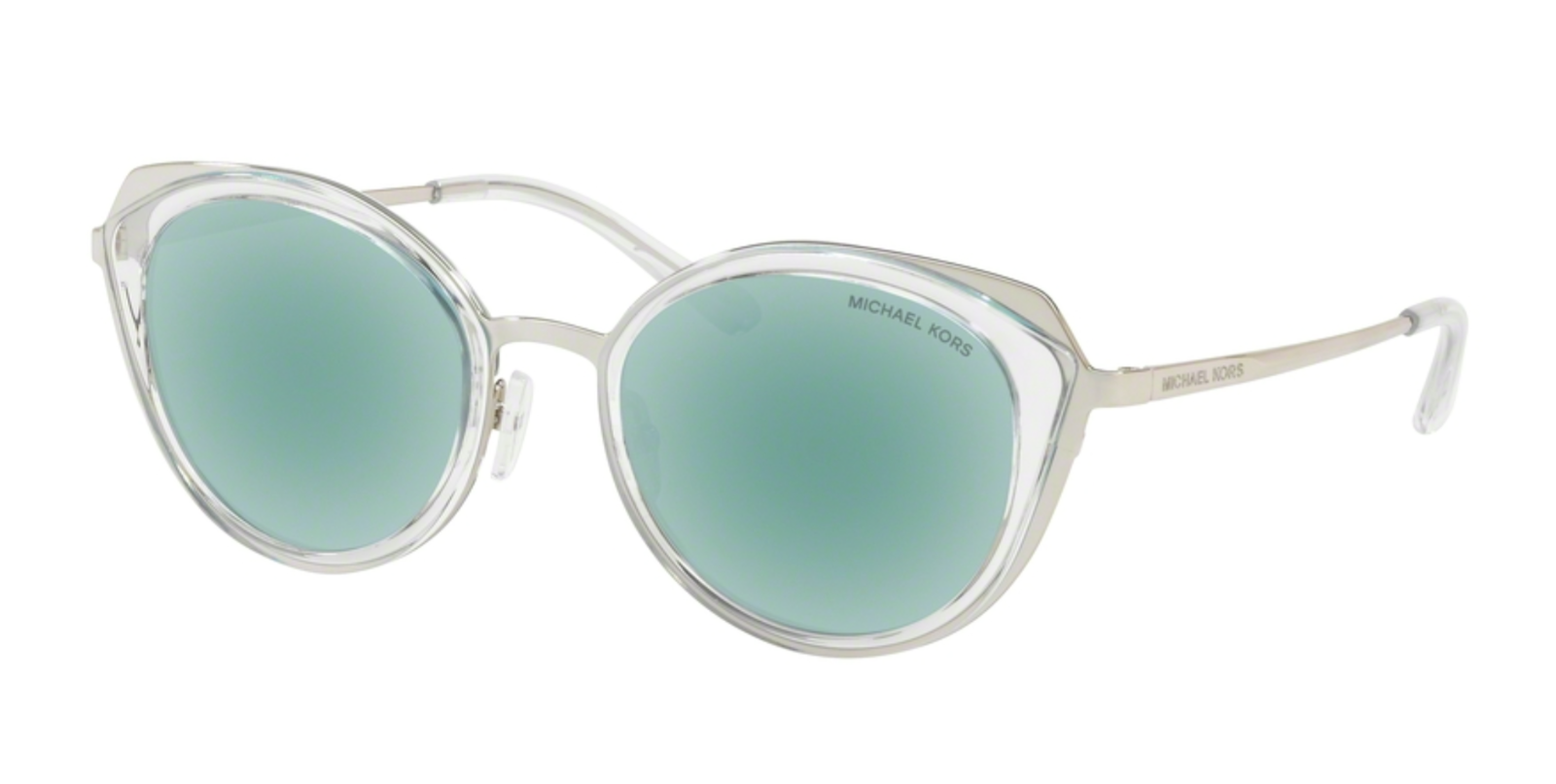 MICHAEL KORS Sunglasses CHARLESTON MK 1029 113725 Clear & Silver w/ Teal Mirror