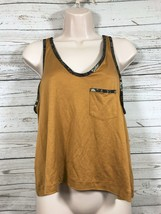 3.1 PHILLIP LIM Mustard Yellow Gold Embossed Trim Silk Tank Top Size Small - $16.66