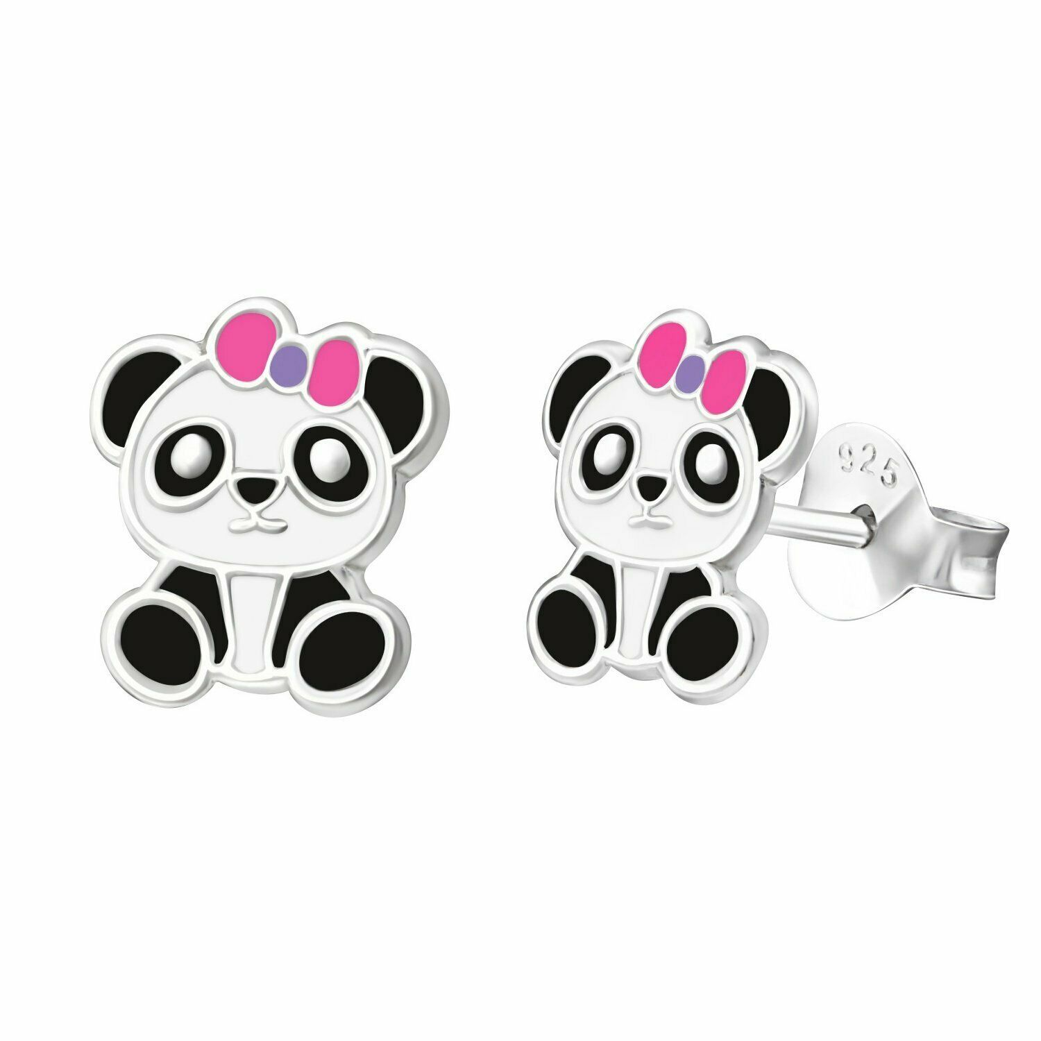 Primary image for Panda Stud Earrings Pink Ribbon in 925 Sterling Silver Cute Fashion Earrings