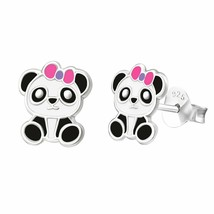 Panda Stud Earrings Pink Ribbon in 925 Sterling Silver Cute Fashion Earr... - $5.89