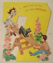 Child's Vintage Birthday Card Children Seesaw Scottish Terrier Scottie Dog - $5.99