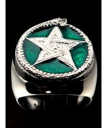 Sterling silver Wicca ring Ouroboros Snake and Pentagram Alchemy symbol ... - $53.00+