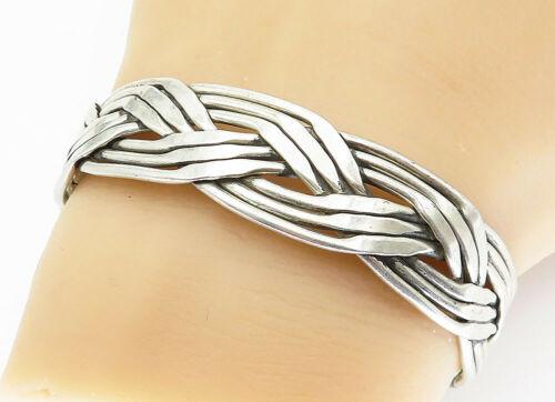 MEXICO 925 Sterling Silver - Vintage Braided Design Cuff Bracelet - B5883