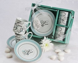 24 Teal Swirl Love Porcelain Espresso Coffee Cup Set Bridal Party Weddin... - $99.70
