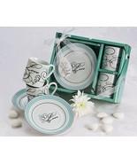 24 Teal Swirl Love Porcelain Espresso Coffee Cup Set Bridal Party Weddin... - $99.70