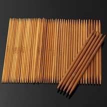 55pcs 11 Sizes Carbonized Bamboo Double Pointed Knitting Needles Hat Sweater Sca - $10.06