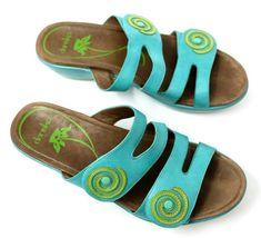 Dansko Women's 38 7.5 8 Turquoise Blue Dixie Sandals Slides Leather Artsy EUC image 4
