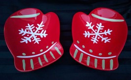 2 Hallmark Red Mitten Serving Dishes Christmas Snack Plates Snow Flakes ... - $14.20