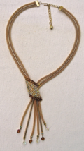 A Vintage 1950's Signed Hobe Goldtone and Rhinestone Necklace - $156.16