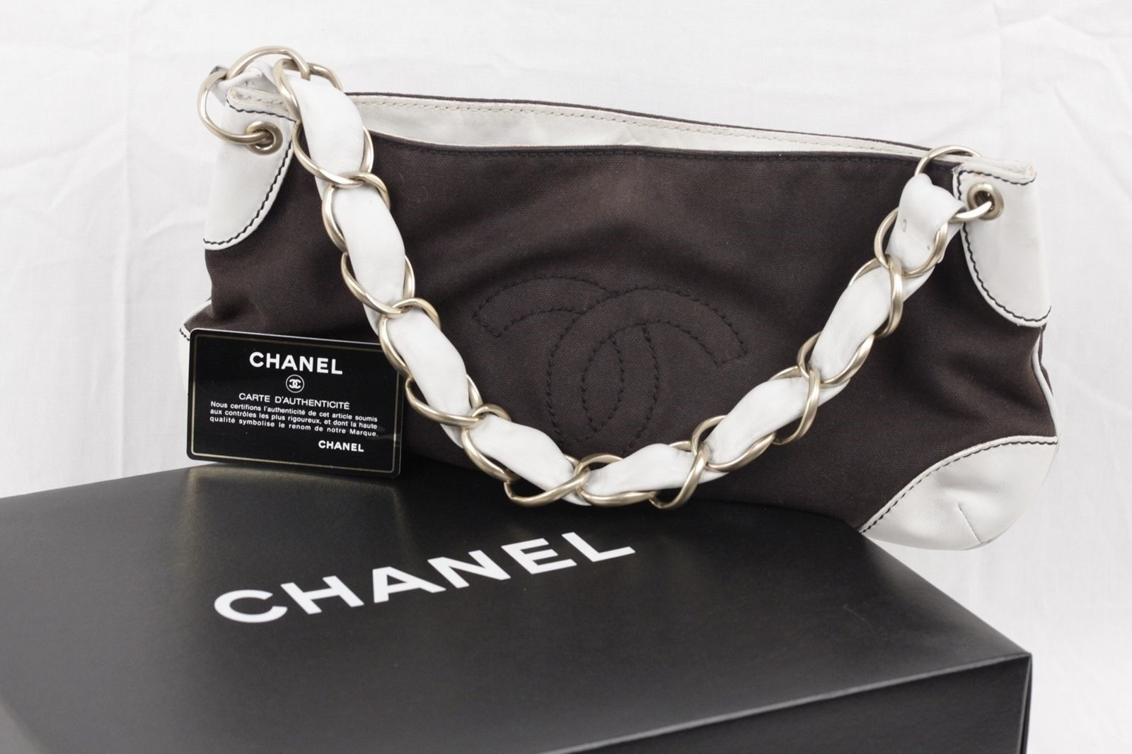 b16cd432676b Authentic CHANEL Brown Canvas & White Leather SHOULDER BAG Purse TOTE w/CC  LOGO