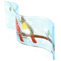 Fused Art Glass Cardinal Couple Birds Wavy Decor Sun Catcher Handmade Ecuador image 4