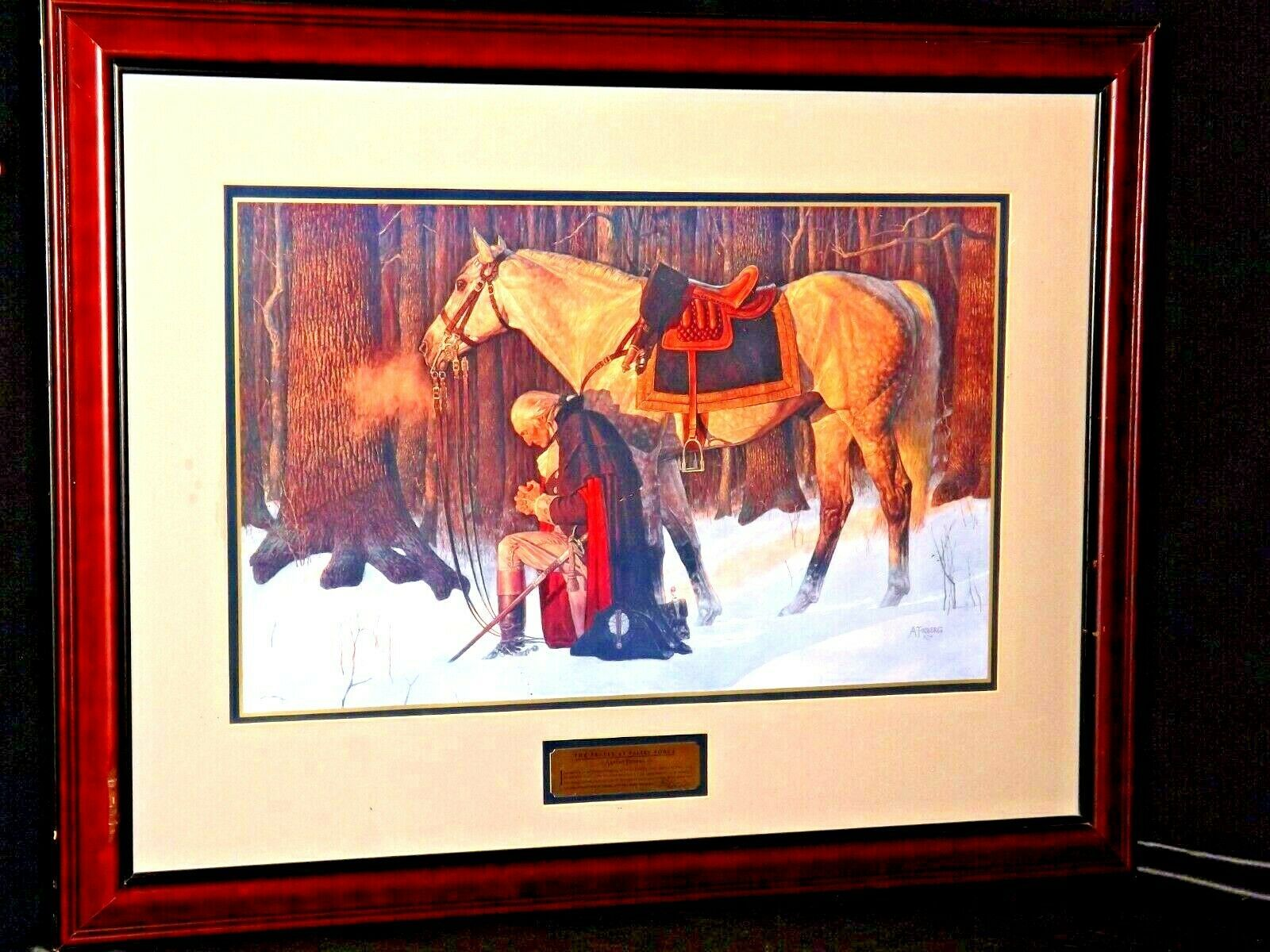 Washington The Pray Praying at Valley Forge AA19-1550 Vintage Painting & Frame
