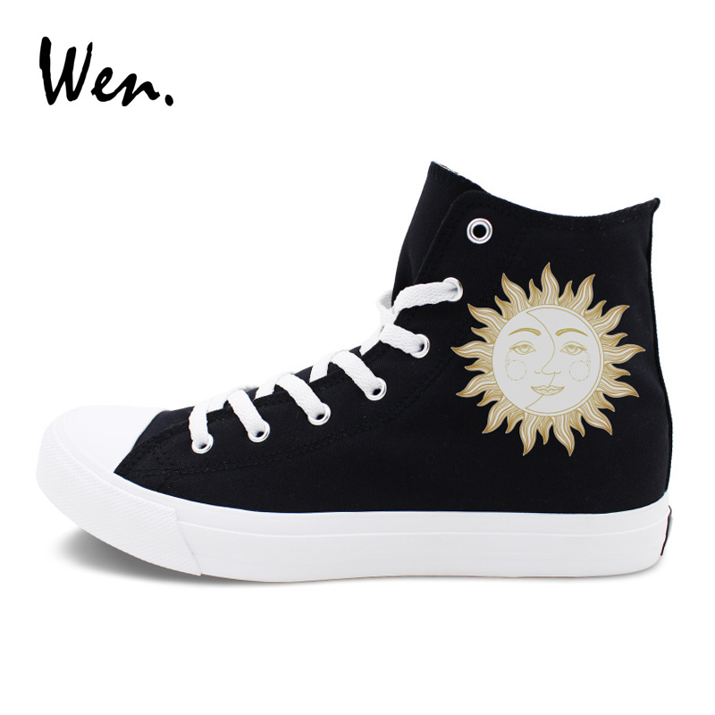 Primary image for Wen Men Women Canvas Shoes Original Design Sun Moon Face High Top Sneakers Black