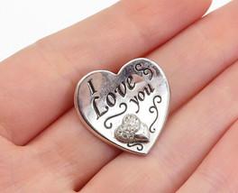 925 Sterling Silver - Vintage Topaz I Love You Etched Heart Pendant - P1... - $24.46