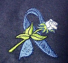 Colon Cancer Child Abuse Awareness Ribbon Rose Navy S/S T-Shirt 2XL Unis... - $23.49
