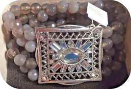 Stunning Lia Sophia SECRET WINDOW stretch bracelet rhinestone & gray aga... - $45.00