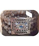 Stunning Lia Sophia SECRET WINDOW stretch bracelet rhinestone & gray aga... - $44.55