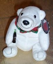 "Coca Cola Coke 6"" Plush Polar Bear in Holiday Plaid Bow Tie Holds Soda B... - $4.29"