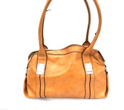 Nine West Saddle Tan Faux Leather Shoulder Bag Satchel Distressed Look Purse - $39.11
