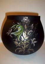 Fenton Glass Ooak Black Satin Vase Hummingbirds & Gold By J.K.Spindler 2011 - $290.03
