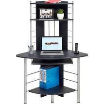 Corner Computer Laptop Desk W/ Keyboard Shelf Tall Office Furniture Blac... - $134.90