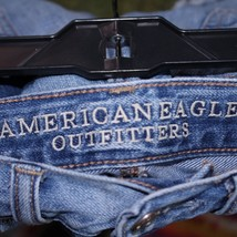 American Eagle 2 Light Wash Distressed Ripped Hi Rise Festival Jean Shor... - $27.71