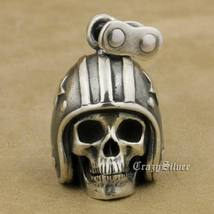 LINSION 925 Sterling Silver Motorcycle Helmet Skull Mens Punk Pendant Necklace image 9