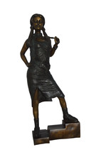 "Girl Posing on Steps Bronze Statue -  Size: 7""L x 12""W x 33""H. - $750.00"