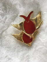 Vintage Trifari Gold Tone Red Enamel 2 Fish Brooch Signed. - $35.00